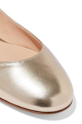 GIANVITO ROSSI Metallic leather ballet flats