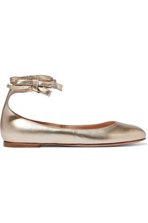 GIANVITO ROSSI Metallic leather ballet flats