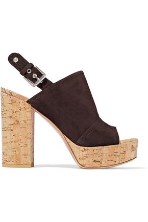 GIANVITO ROSSI Marcy suede and cork platform sandals