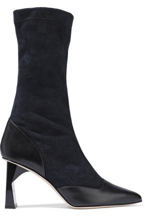 TIBI Felice leather-paneled suede boots