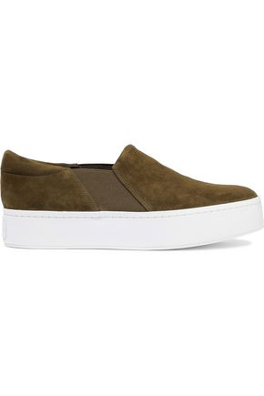 VINCE. Warren suede slip-on platform sneakers