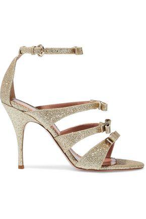 RED(V) Bow-embellished glittered leather sandals