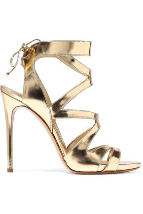 CASADEI Cutout mirrored-leather sandals