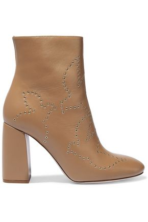 RED(V) Eyelet-embellished leather ankle boots