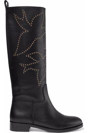 REDValentino Eyelet-embellished leather boots