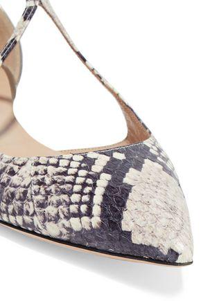 CASADEI Mirrored leather-paneled python point-toe flats