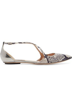 CASADEI Mirrored leather-paneled python point-toe flats