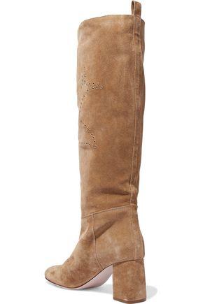 RED(V) Eyelet-embellished suede boots
