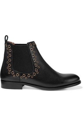 REDValentino Eyelet-embellished textured-leather ankle boots
