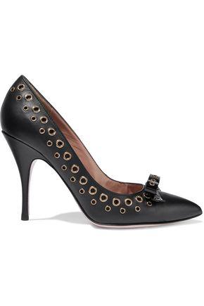 REDValentino Eyelet-embellished leather pumps
