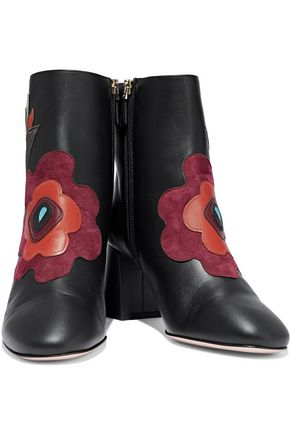 REDValentino Floral-appliquéd leather ankle boots