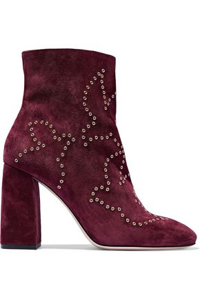 REDValentino Eyelet-embellished suede ankle boots