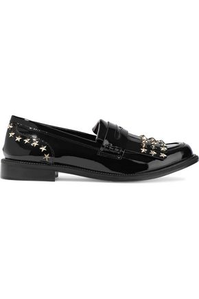 RED(V) Studded patent-leather loafers