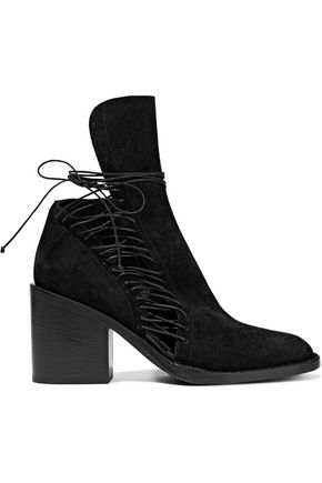 ANN DEMEULEMEESTER Cutout lace-up suede ankle boots