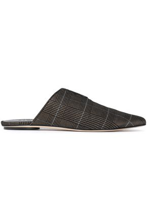 TIBI Cacey metallic Prince of Wales checked woven slippers
