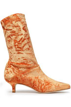 Harper Crushed-Velvet Sock Boots, Marigold