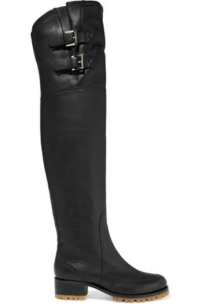 RED(V) Leather over-the-knee boot