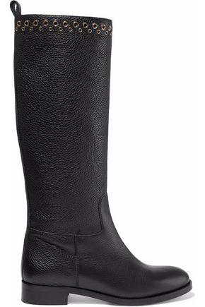 REDValentino Eyelet-embellished textured-leather boots