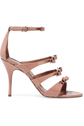 REDValentino Bow-embellished patent-leather sandals