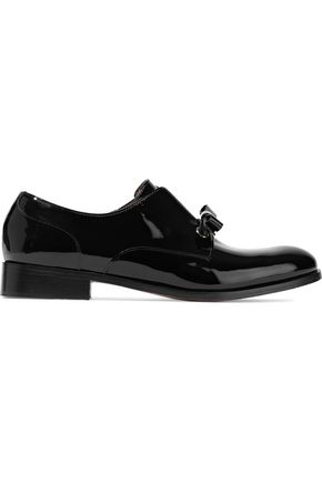REDValentino Bow-embellished patent-leather brogues