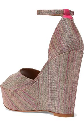 M MISSONI Leather-trimmed metallic jacquard wedge sandals