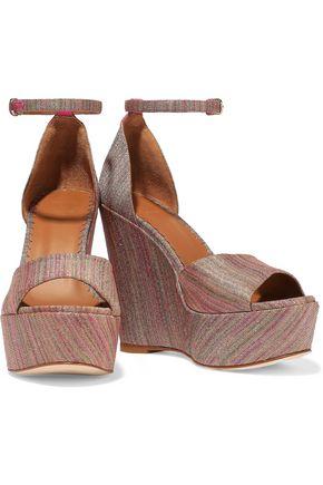 M MISSONI Leather-trimmed metallic jacquard wedge sandals