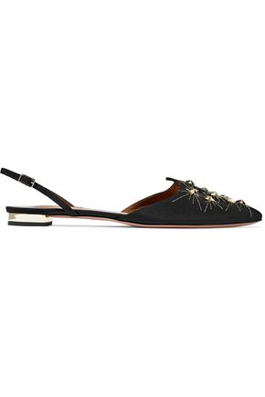 AQUAZZURA Nairobi embellished satin-faille point-toe flats