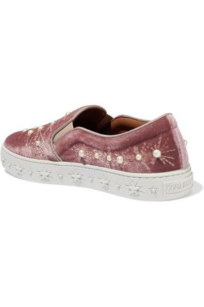 AQUAZZURA Cosmic Pearls embellished velvet slip-on sneakers