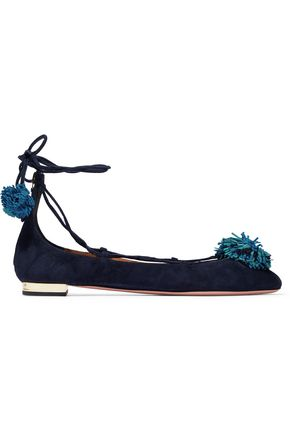 AQUAZZURA Sunshine pompom lace-up suede flats