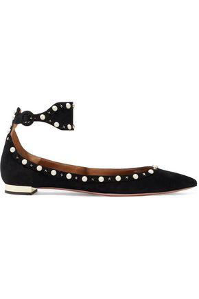 AQUAZZURA Harlow embellished suede point-toe flats