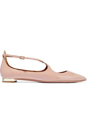 AQUAZZURA Avery patent-leather point-toe flats
