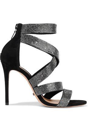SCHUTZ Jia crystal-embellished suede sandals
