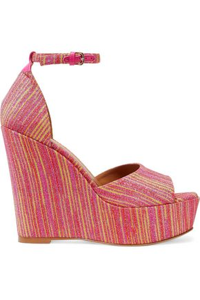 M MISSONI Metallic jacquard wedge sandals
