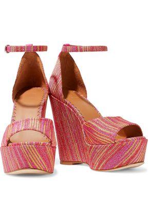 M MISSONI Metallic jacquard wedge sandals