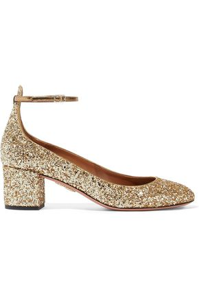 AQUAZZURA Alix glittered metallic leather Mary Jane pumps