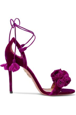 Woman Wild Flower Appliquéd Velvet Sandals Magenta
