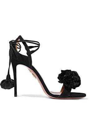 AQUAZZURA Wild Flower velvet-appliquéd suede sandals