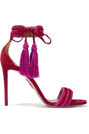 AQUAZZURA Shanty embroidered suede sandals
