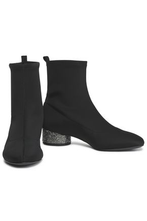 DONNA KARAN Embellished stretch-knit sock boots