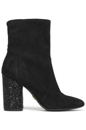 DONNA KARAN Embellished suede ankle boots