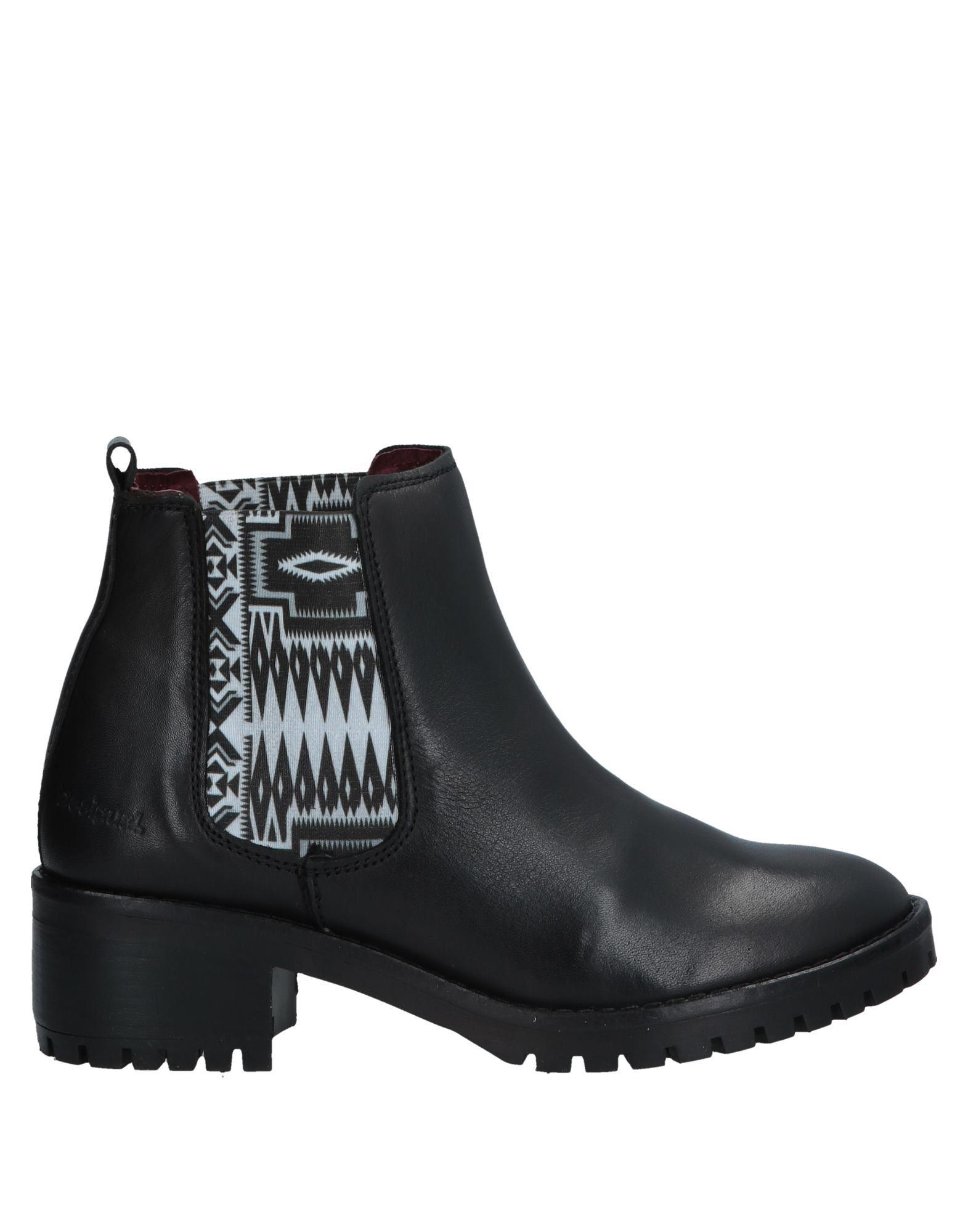 《送料無料》DESIGUAL レディース ショートブーツ ブラック 36 革
