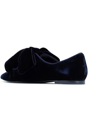 TORY BURCH Bow-embellished velvet point-toe flats