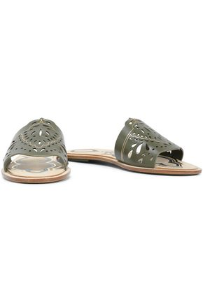 TORY BURCH Laser-cut leather slides