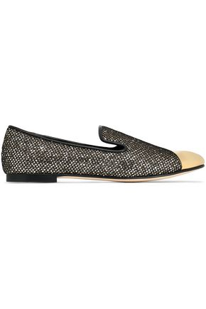 GIUSEPPE ZANOTTI Dalila mesh-appliquéd glittered leather slippers