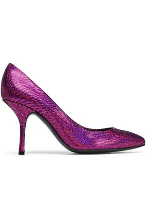 GIUSEPPE ZANOTTI Metallic textured-leather pumps