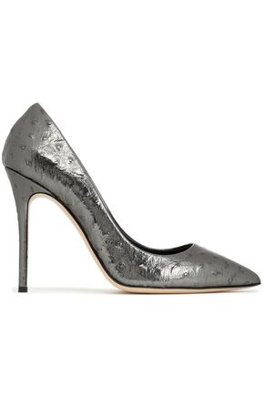 GIUSEPPE ZANOTTI Ostrich-effect metallic leather pumps