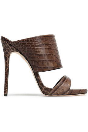GIUSEPPE ZANOTTI Croc-effect leather mules