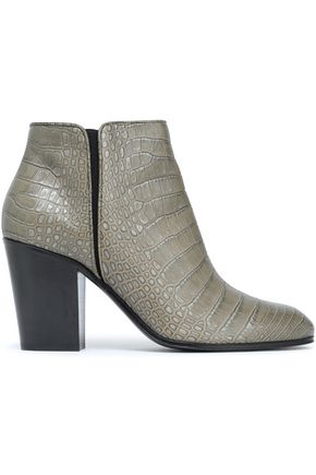 GIUSEPPE ZANOTTI Croc-effect leather ankle boots