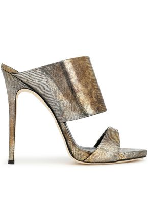 GIUSEPPE ZANOTTI Metallic lizard-effect leather mules