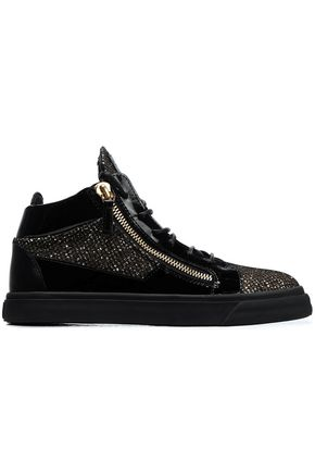 GIUSEPPE ZANOTTI Glittered, smooth and patent-leather high-top sneakers
